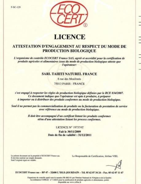 Sok z noni - certyfikat Bio