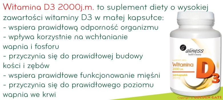 Witamina D3 2000 j.m. UI na odporność na kości