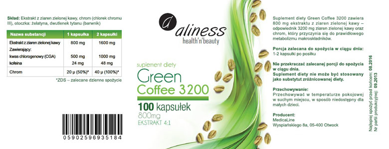 zielona kawa chrom kofeina
