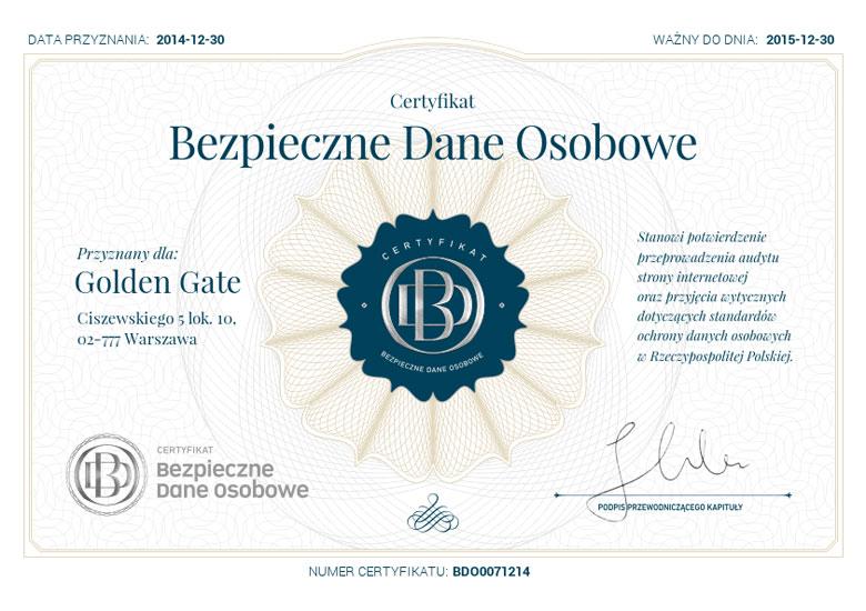 Certyfikat Bezpieczne Dane Osobowe